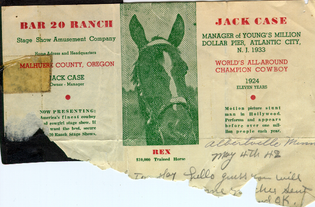 Jack Case archive: letterhead with Jack and Rex