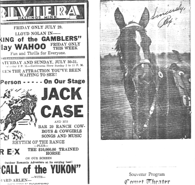 Jack Case archive: rodeo flyer and signed image of Rex